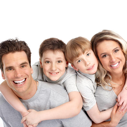Smiling family at wadebridge dentist